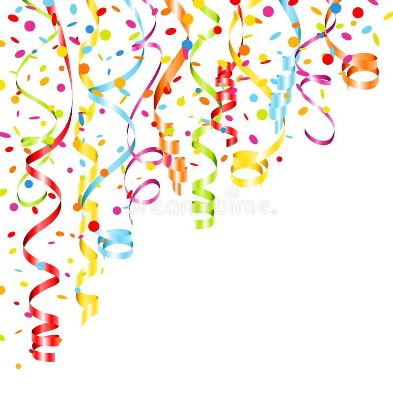 Corner Colorful Streamers And Confetti Up Left vector illustration