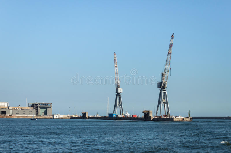 Big cranes in the port of Genoa, Italy