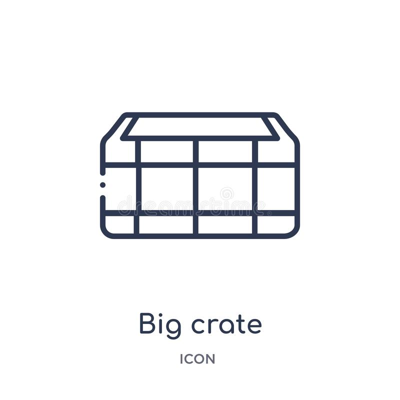 Big crate icon from nautical outline collection. Thin line big crate icon isolated on white background stock illustration