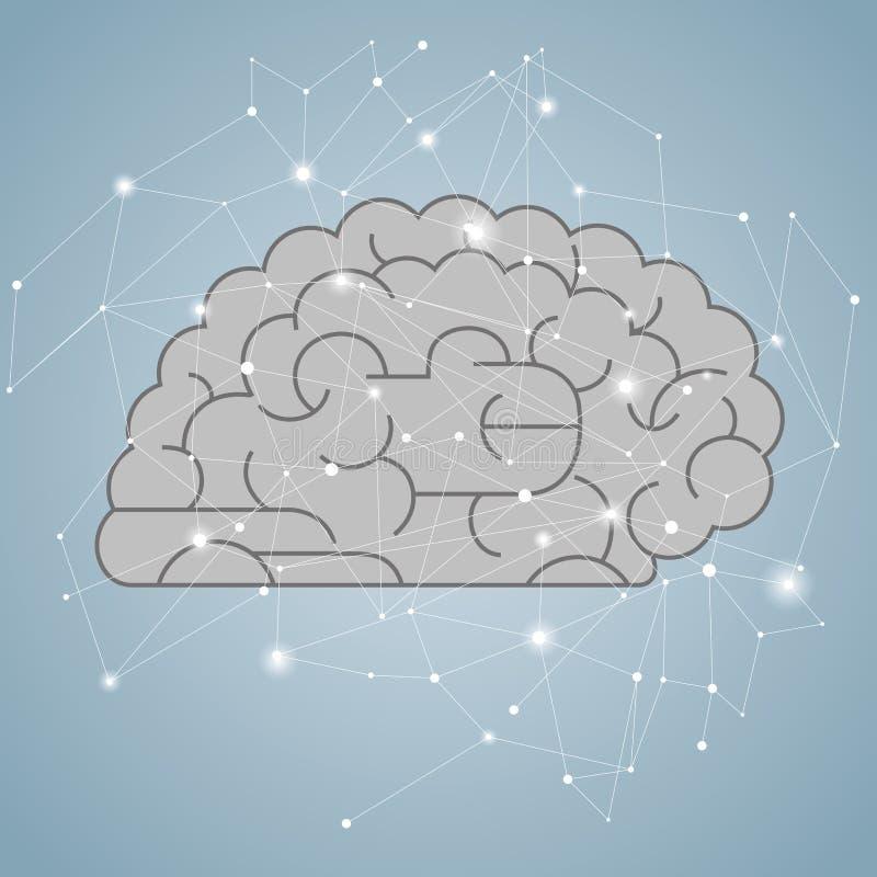 Big creative design concept, vector drawn brain graphics. Brain is gray royalty free illustration