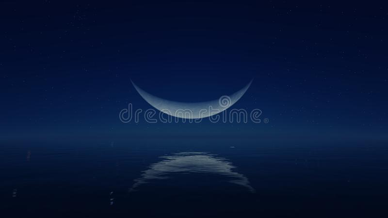 Big crescent above mirror water surface. Cloudless night with fantastic big demilune above mirror water surface stock illustration