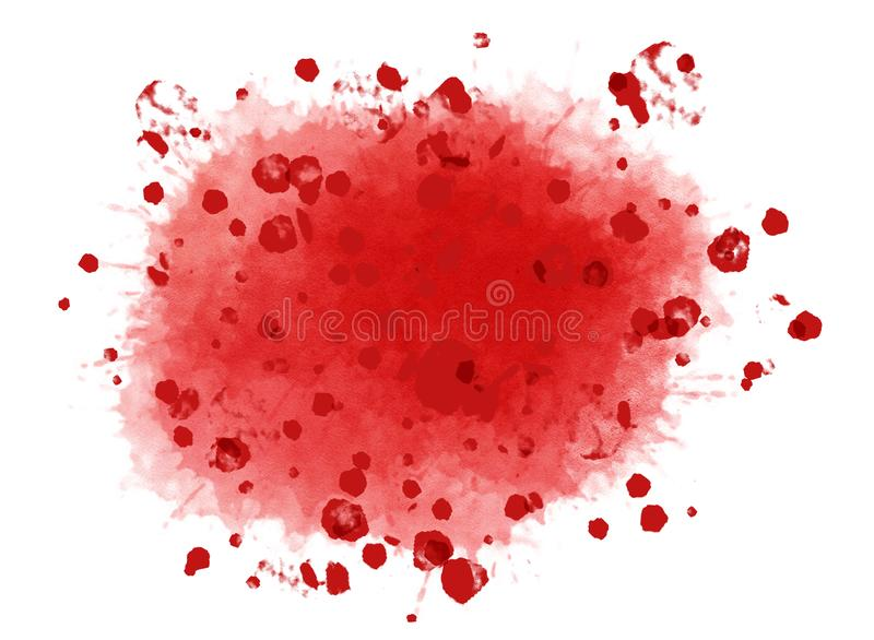 Big crimson red watercolor splash with lots of stains scattered around. Digital generated background illustration isolated on whit. Big crimson red watercolor royalty free stock photo