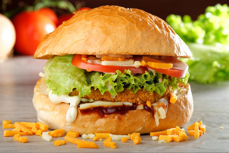 Big crispy chicken burger stock photo image of meal for Table burger