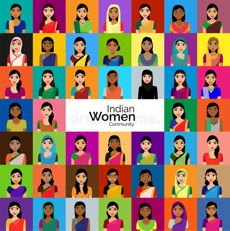 Crowd Of Indian Women Vector Avatars Stock Vector: Big Crowd Of Indian Women Avatars Stock Illustration