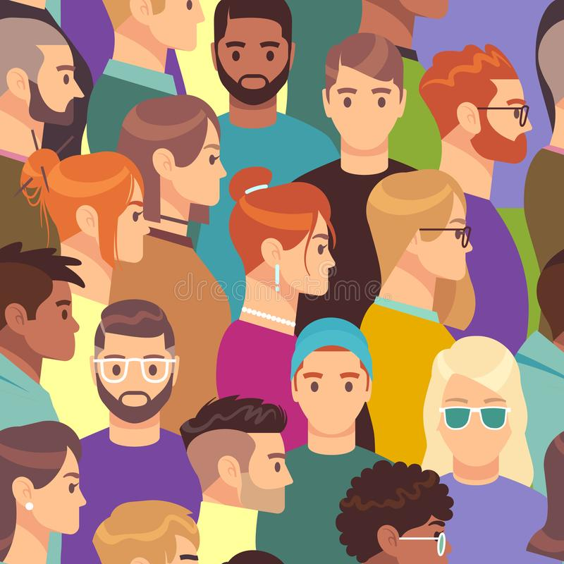 Big crowd pattern. Seamless texture of different people group, male and female with various hairstyles, profile heads vector illustration