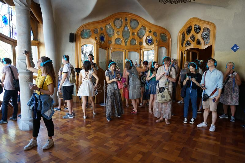 Big Crowd of People at Casa Batllo. Photo of crowd of people inside casa batllo in barcelona spain on 9/30/18. This place is always crowded. Casa batllo is one royalty free stock photos