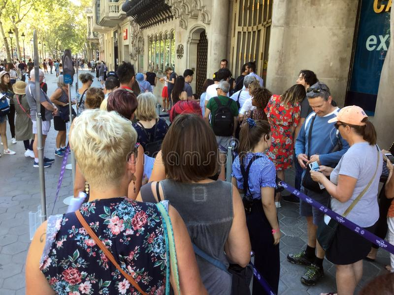 Big Crowd of People at Casa Batllo. Photo of people waiting in line to go inside casa batllo in barcelona spain on 9/30/18. This place is always crowded royalty free stock photos