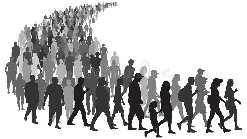 Big crowd of people go queue. People stand in line at the store. Group of refugees migration crisis in Europe stock illustration