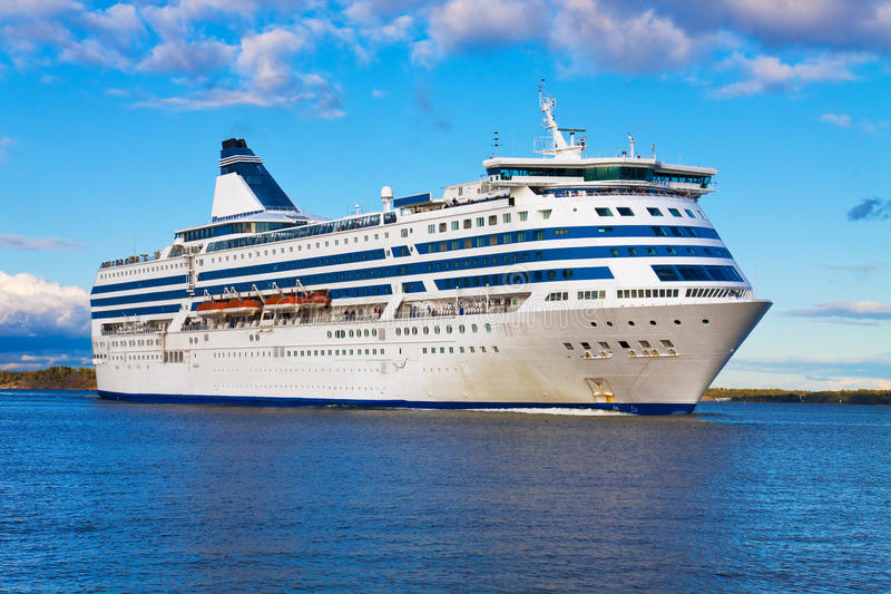 Big cruise liner. Big white cruise liner passing by in Baltic sea in Finland royalty free stock photo