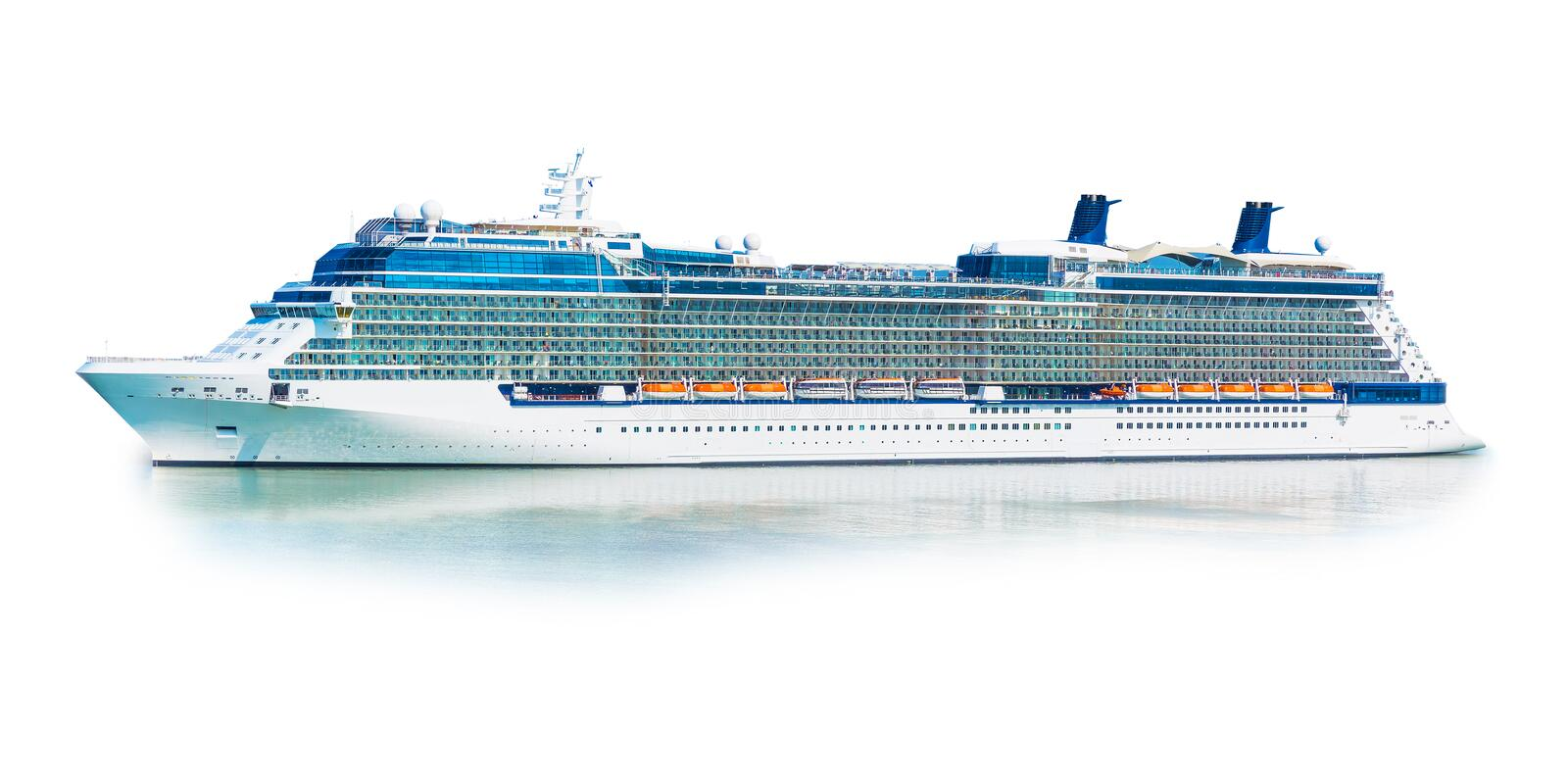Big cruise ship liner ferry isolated on white background royalty free stock photo