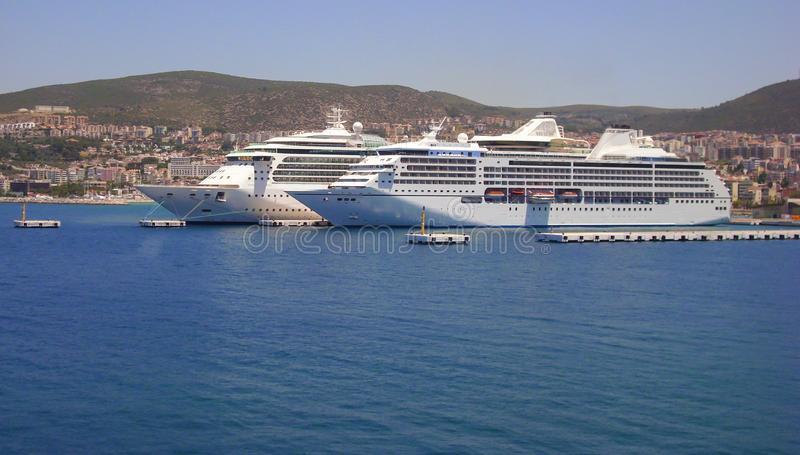 2 big cruise ships docked in Kusadasi, Turkey royalty free stock photo