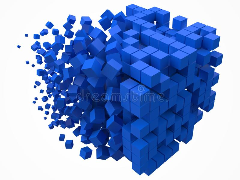 Big cubic data block. made with smaller blue cubes. 3d pixel style vector illustration. Suitable for blockchain, technology, computer and abstract themes vector illustration