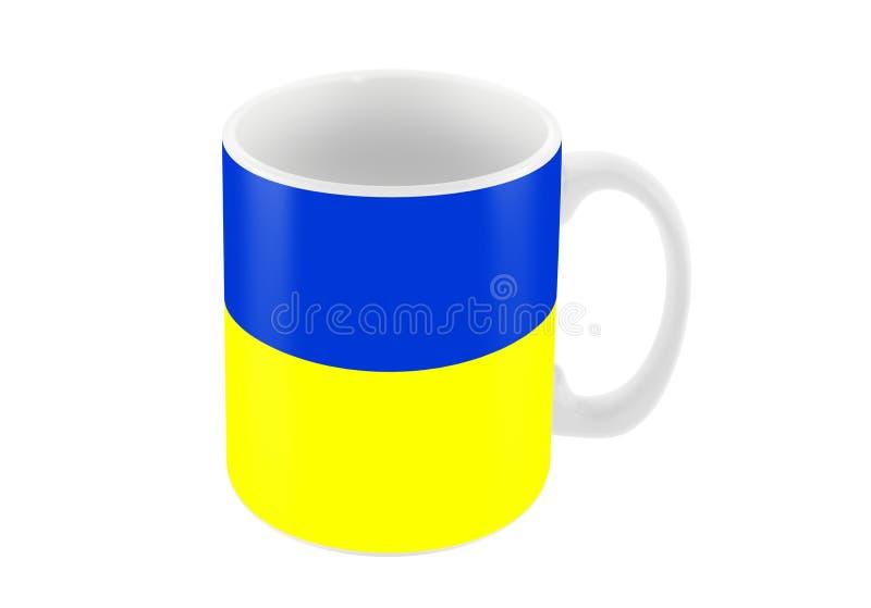 Big cup mug in color of ukrainian flag isolated on white, 3d ill. Big cup mug in color of ukrainian flag isolated on white, 3d stock illustration royalty free illustration