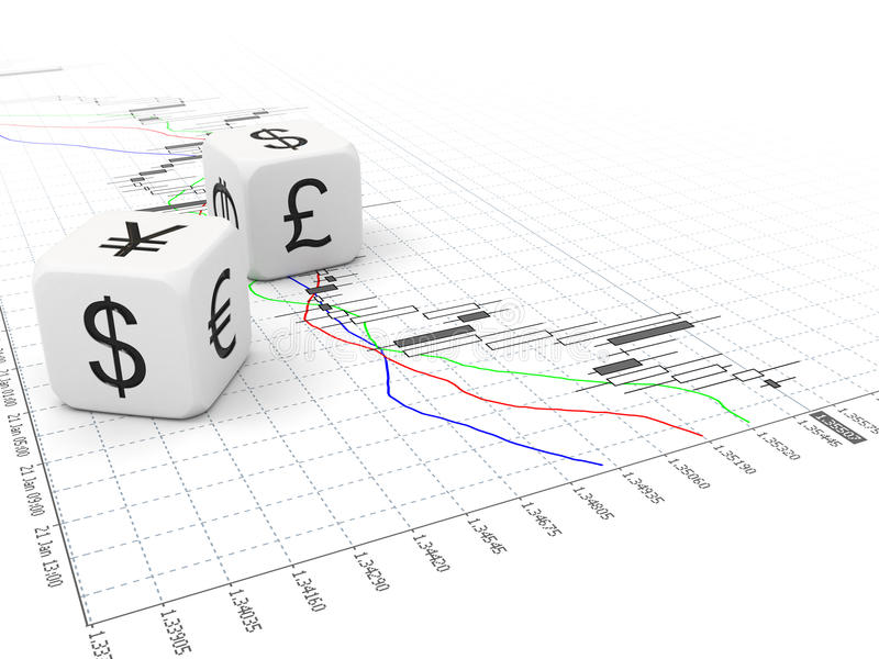 Download Big Currency Dice And Forex Chart Stock Illustration - Image: 18044045