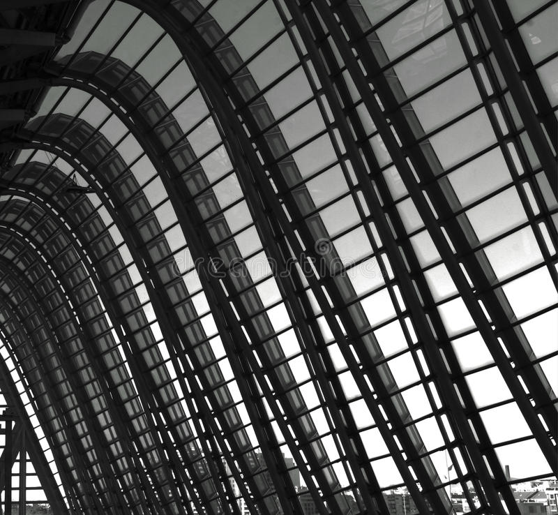 The big curves. Shot in black and white, detail on a modern building from indoors, placed at the Ciutat de les arts, set in Valencia, España, Spain, Europa stock images