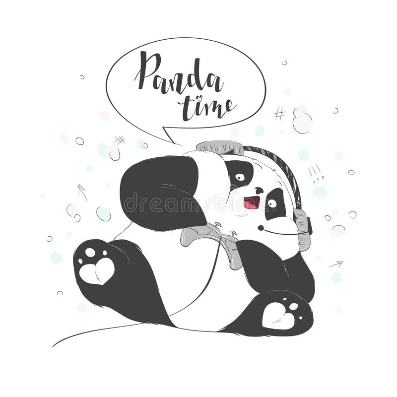Big cute Panda is playing a video game. Vector illustration with lettering. High technology and entertainment. Big cute Panda is playing in a video game. Vector vector illustration