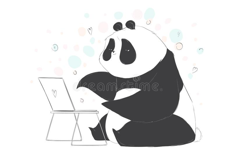 Big cute panda watch something on notebook in cartoon style. Vector hand drawn illustration. stock illustration