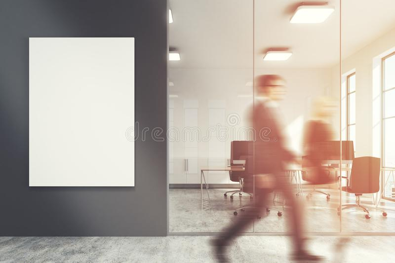 Dark gray office lobby, meeting room, people royalty free illustration