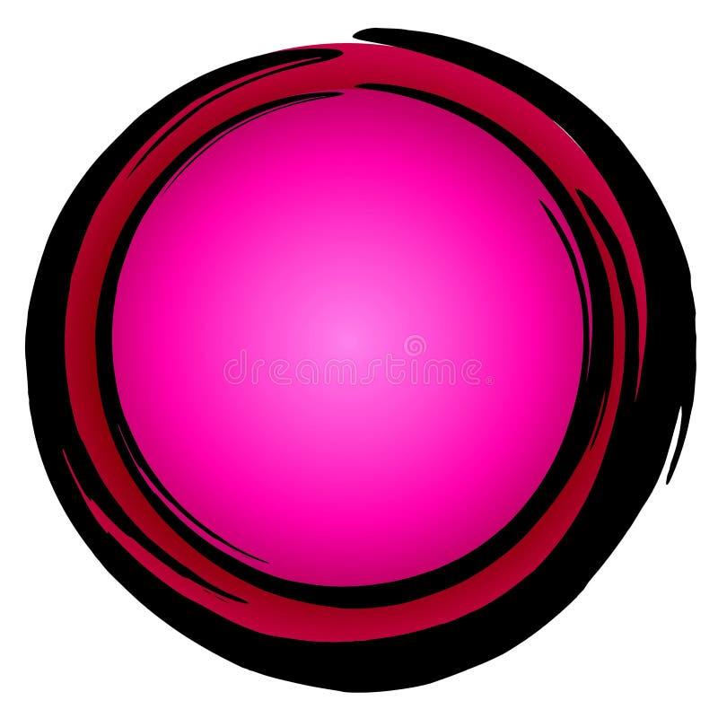 Big Dark Pink Circle Icon Enso stock illustration