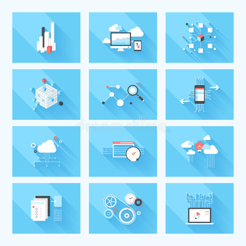 BIG data. Vector illustration concept of SEO optimization, data analysis and storage, cloud computing and program coding isolated on blue background with long vector illustration