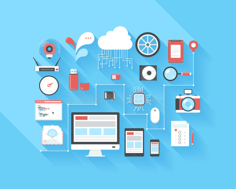 BIG data. Vector illustration concept of SEO optimization, data analysis and storage, cloud computing, social media and program coding isolated on blue royalty free illustration