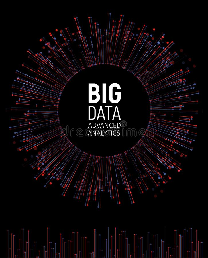 Big data abstract vector visualization. Lines and dots array. Big data connection complex. Graphic fractal element vector illustration