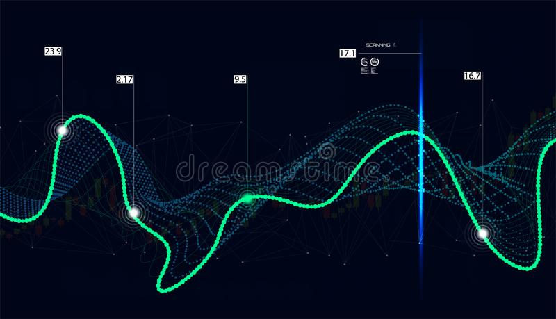 Big data algorithms. Quantum computing, data visualization technologies, deep learning artificial intelligence, signal cryptography infographic vector royalty free illustration