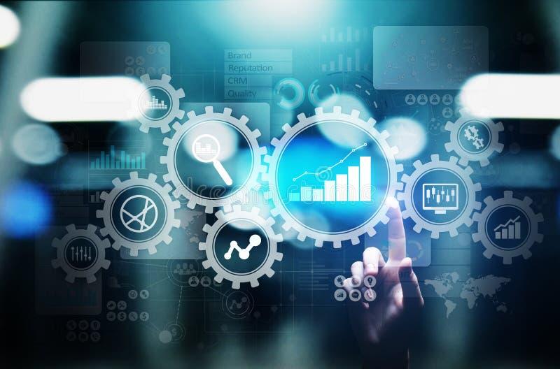Big Data-analyse, de diagrammen van Bedrijfsprocesanalytics met toestellen en pictogrammen op het virtuele scherm stock illustratie