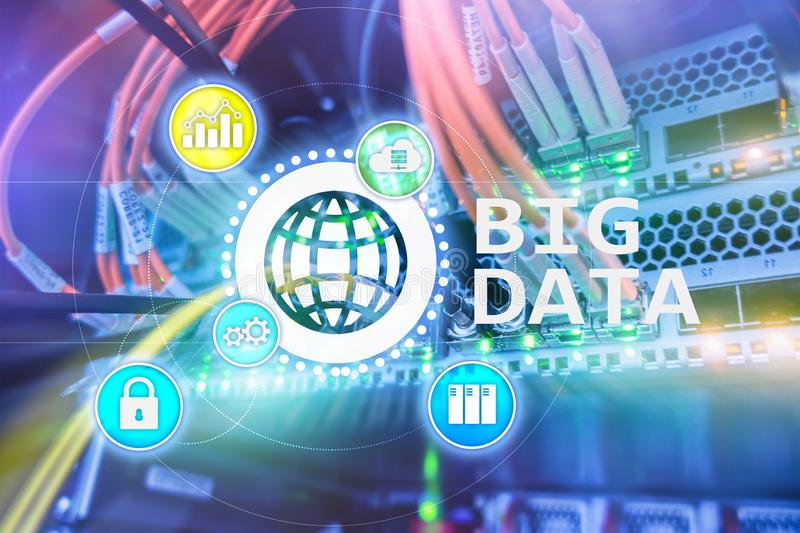 Big data analysing server. Internet and technology.  vector illustration