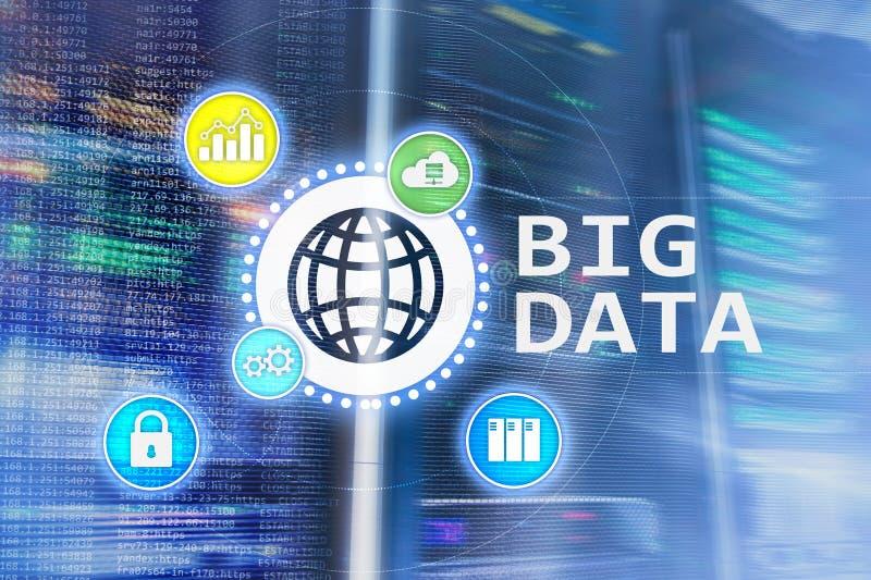 Big data analysing server. Internet and technology.  stock illustration