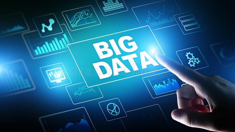 Big data analysis, business intelligence, technology solutions concept on virtual screen. stock illustration