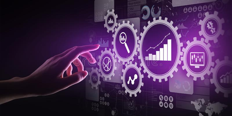 Big Data analysis, Business process analytics diagrams with gears and icons on virtual screen. stock illustration