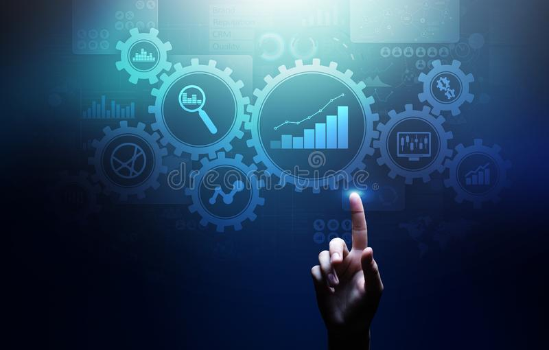 Big Data analysis, Business process analytics diagrams with gears and icons on virtual screen. Big Data analysis, Business process analytics diagrams with gears royalty free stock photo