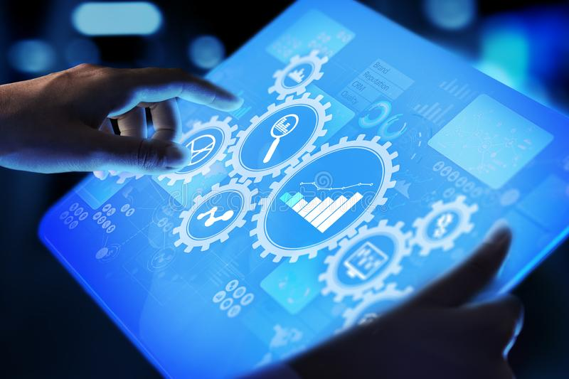 Big Data analysis, Business process analytics diagrams with gears and icons on virtual screen. Big Data analysis, Business process analytics diagrams with gears royalty free stock images