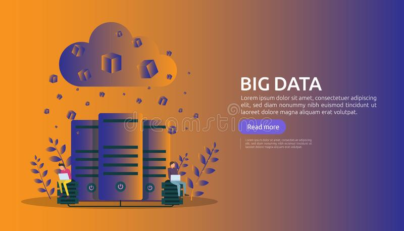 Big data and analysis processing concept landing page template. cloud database service, server center room rack with interacting. People character for banner royalty free illustration