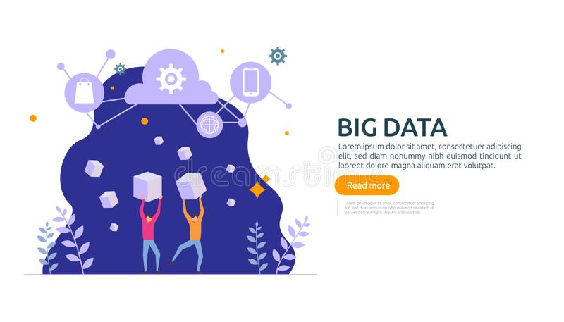 Big data and analysis processing concept landing page template. cloud database service, server center room rack with interacting. People character for banner vector illustration
