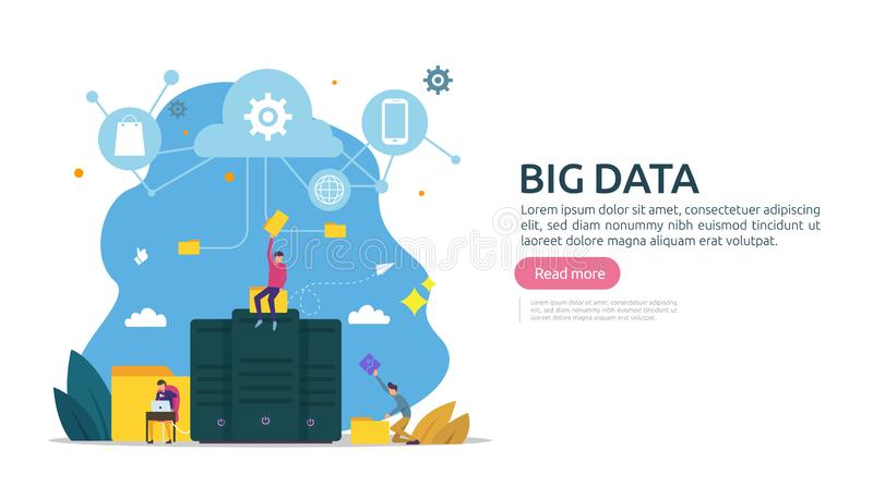 big data and analysis processing concept landing page template. cloud database service, server center room rack with interacting vector illustration