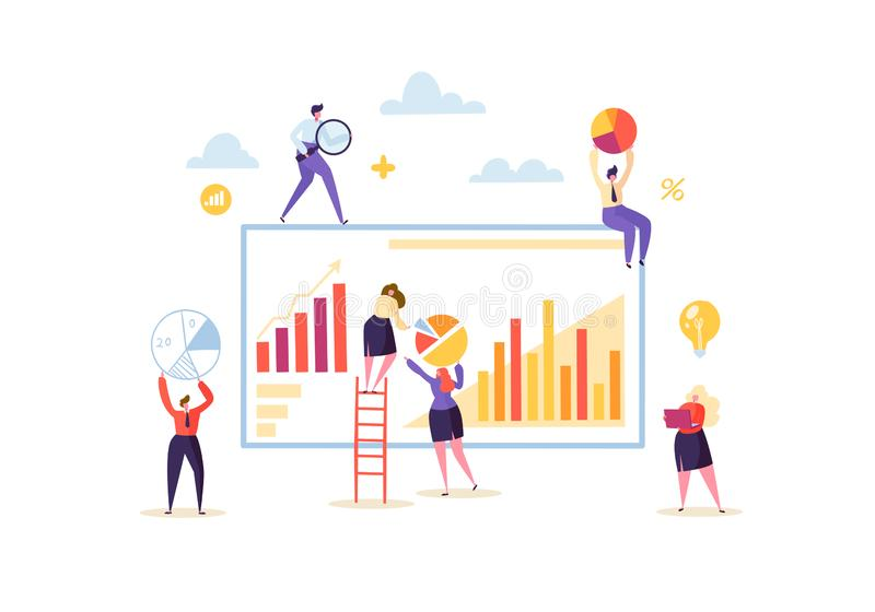 Big Data Analysis Strategy Concept. Marketing Analytics with Business People Characters Working Together with Diagrams royalty free illustration