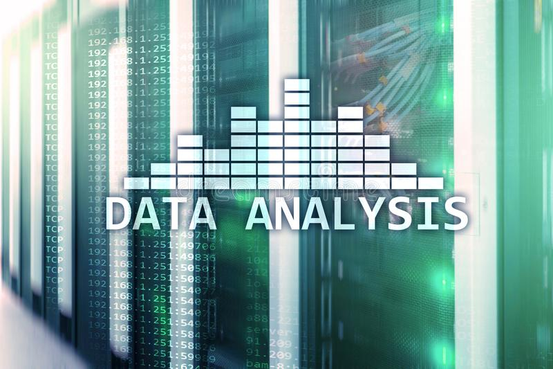 Big Data analysis text on server room background. Internet and modern technology concept royalty free stock photo