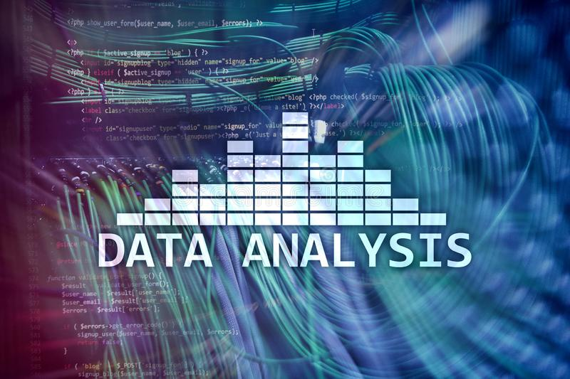 Big Data analysis text on server room background. Internet and modern technology concept.  stock illustration