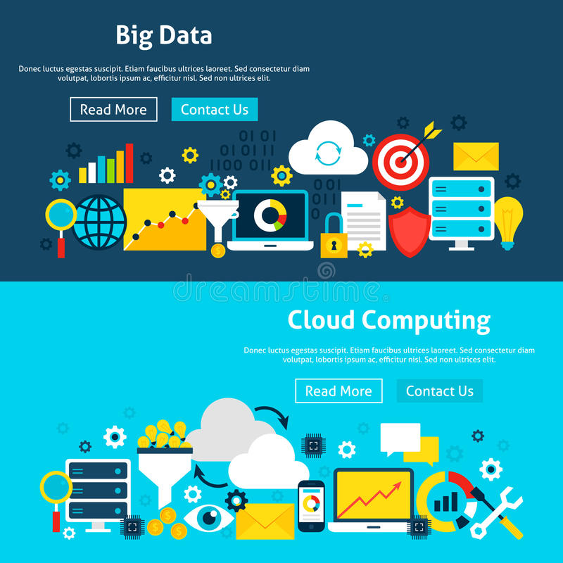 Big Data Analysis Website Banners royalty free illustration