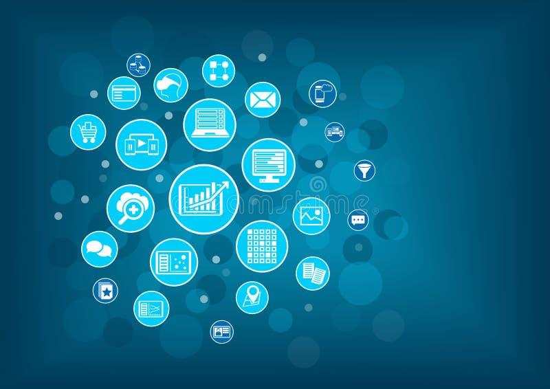 Big data analytics background concept. royalty free illustration