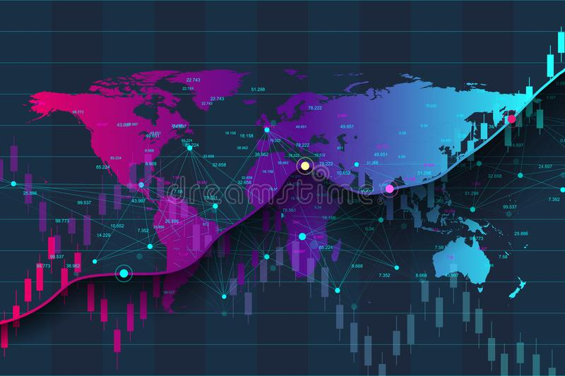 Big data analytics and business intelligence. Digital analytics concept with graph and charts. Financial schedule World. Map infographic. Vector illustration royalty free illustration