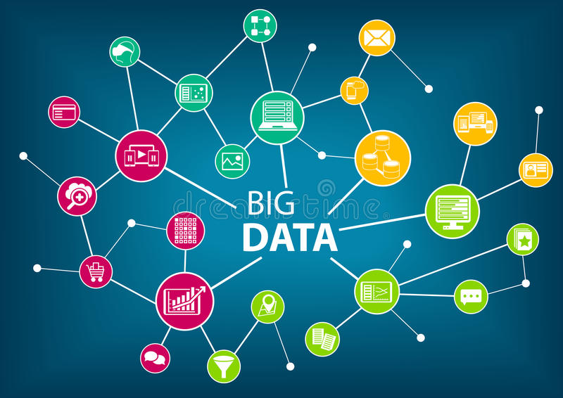 Big data and analytics concept. Connected devices and information shared across various locations royalty free illustration