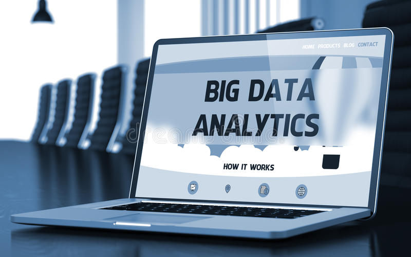 Big Data Analytics Concept on Laptop Screen. 3D. Big Data Analytics on Landing Page of Laptop Screen in Modern Conference Hall Closeup View. Toned Image royalty free stock images