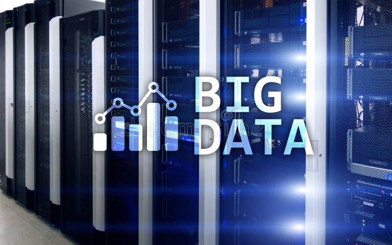 Big data analytics, internet and modern technology. Concept on server room background vector illustration