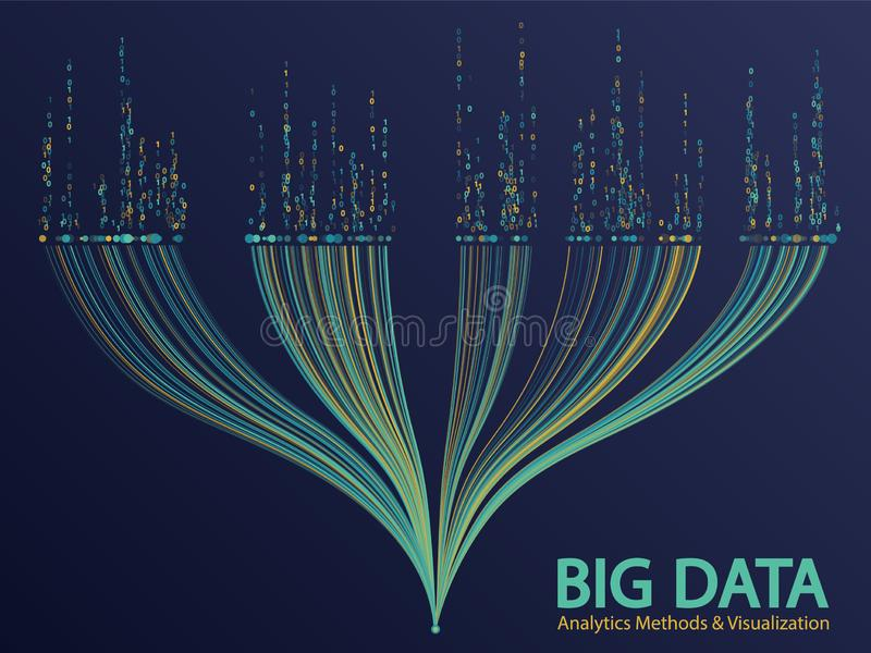 Big data visualization concept vector. Big data analytics methods and visualization concept vector design. 0 and 1 binary code data visualization. Big number of stock image