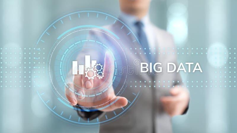 Big data analytics technology internet technology concept. Businessman pressing button on virtual screen. vector illustration