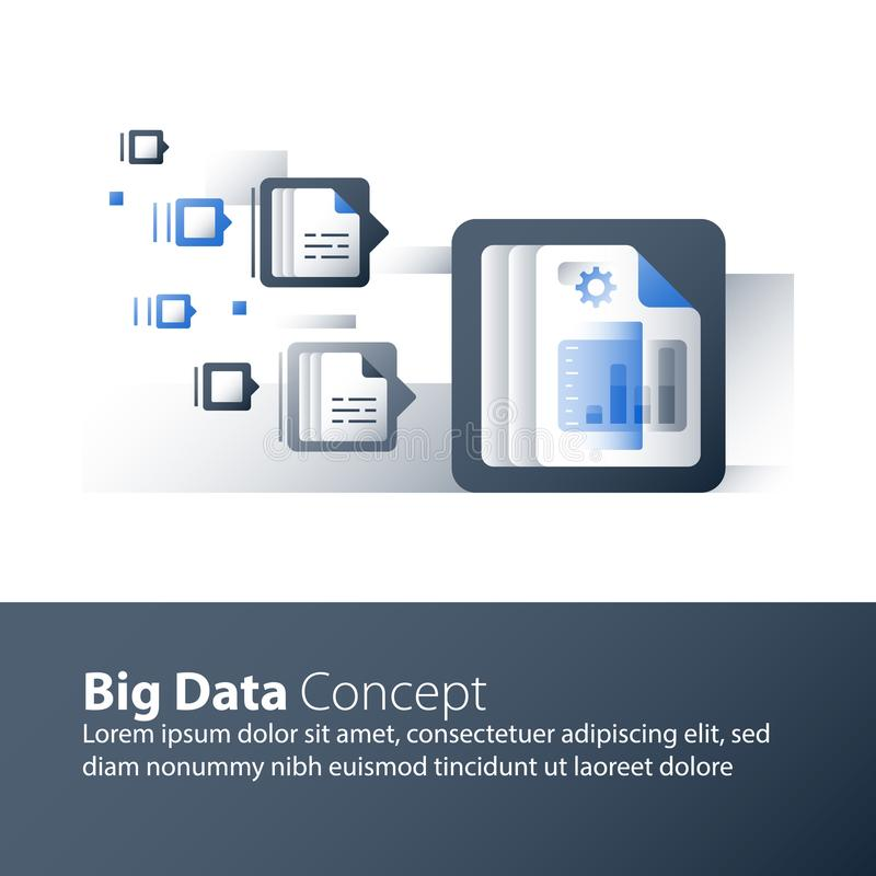 Information collection and processing, big data analyzing, report graph, business technology vector illustration