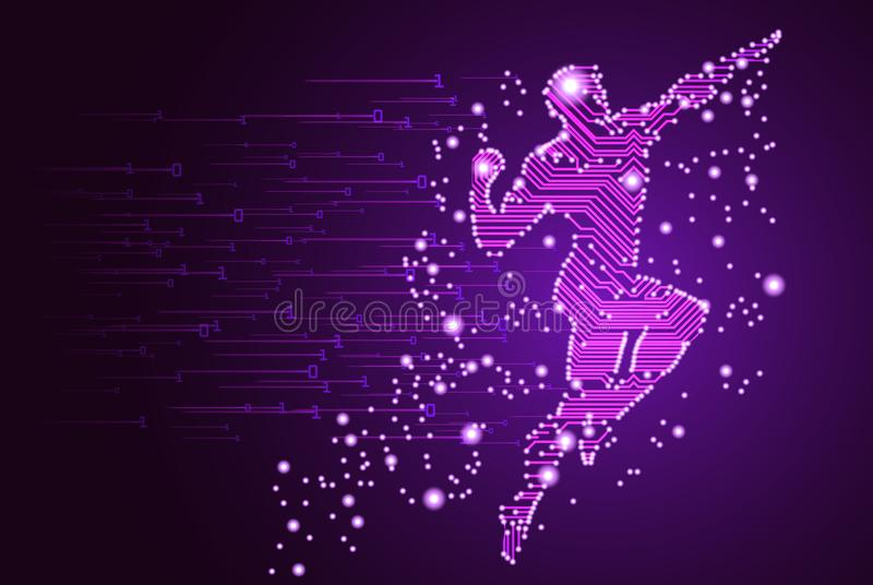 Big data and artificial intelligence concept. Machine learning and cyber mind domination concept in form of men flying figure outline with circuit board and stock illustration